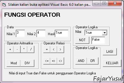 Latihan04 (Fungsi Operator)