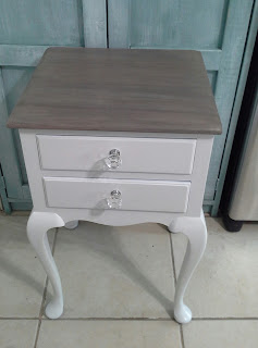 white stain weathered grey wood top glass knobs nightstand