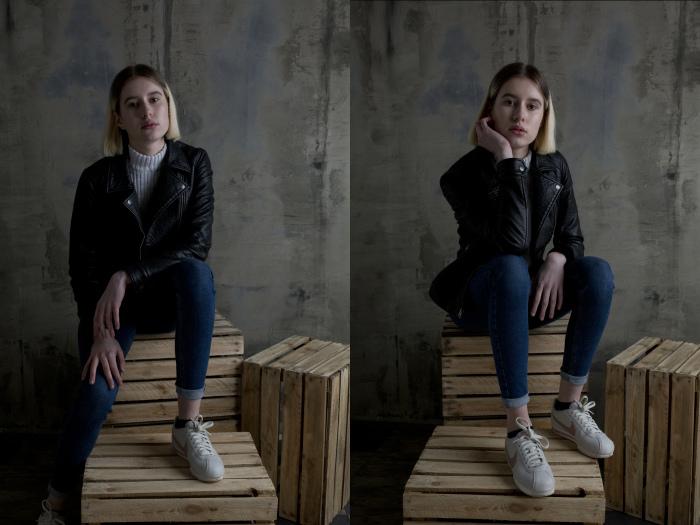 Разница между съемкой портрета с панелью V-Flat и без нее