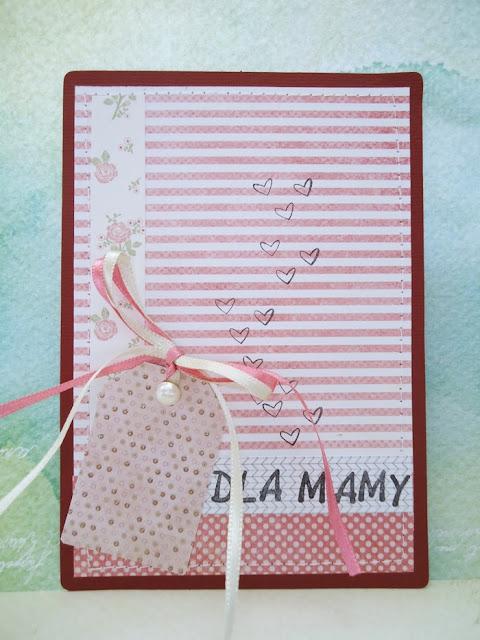 kartka na Dzień Matki, kartka z tagiem i perełką