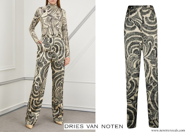 Queen Mathilde wore Dries Van Noten Printed Satiny Poline Trousers