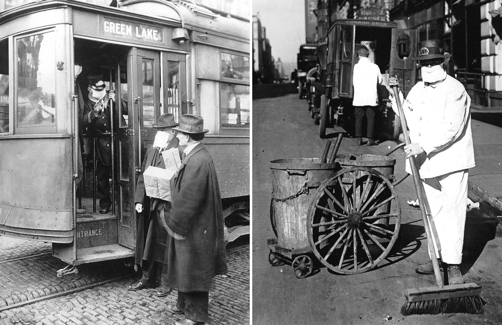 Left: A Seattle, Washington streetcar conductor refuses entry to a commuter who is not wearing a mask. Precautions taken in the city required passengers to wear masks on public transportation. Right: A New York city street sweeper wears a mask to help check the spread of influenza.