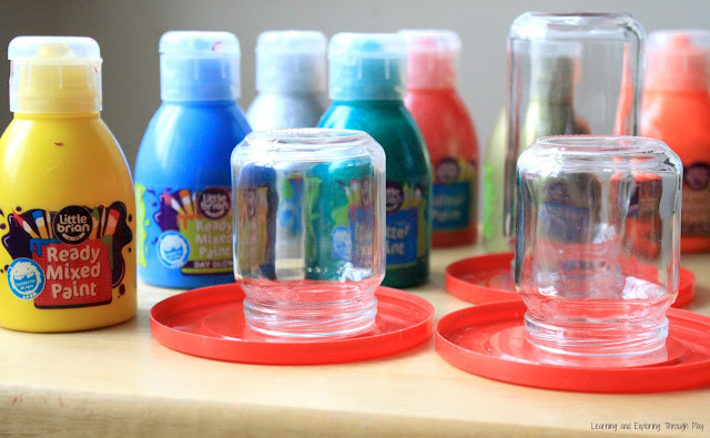 Drip Painting Process Art for Kids - Rainbow Luminaries.