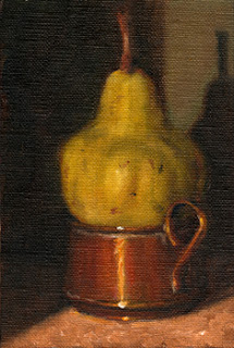 Oil painting of a pear on a small copper pot with one handle visible.