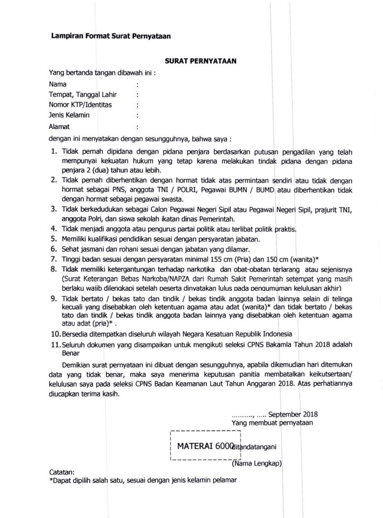 Lowongan Kerja  Format Surat Pemyataan CPNS Badan Keamanan Laut  Anggaran   Oktober 2018