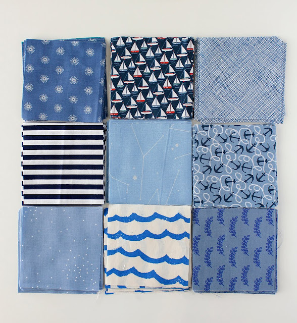 Blue fabrics for a patchwork quilt