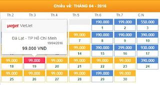 Giá vé máy bay Đà Lạt đi Hồ Chí Minh tháng 4