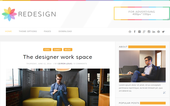 ReDesign is a classic minimalistic theme