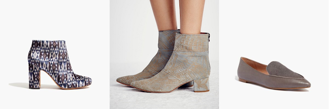 madewell nealy boot in print velvet free people aura ankle boot in sage madewell lou loafer in smoked graphite