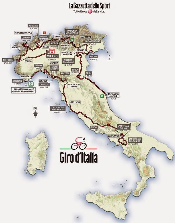 Route of 2015 Giro d'Italia