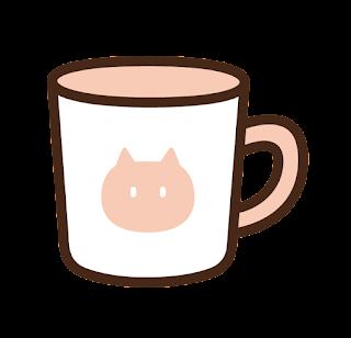 ねこ模様のマグカップのイラスト(ピンク)