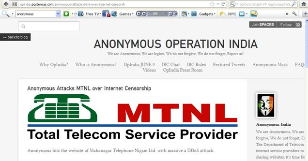 Anonymous takes down MTNL website