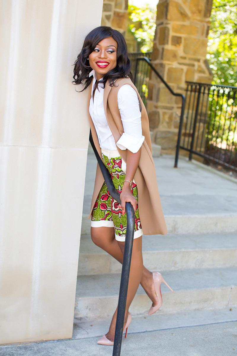African ankara print shorts, Mango vest, Christian louboutin pumps