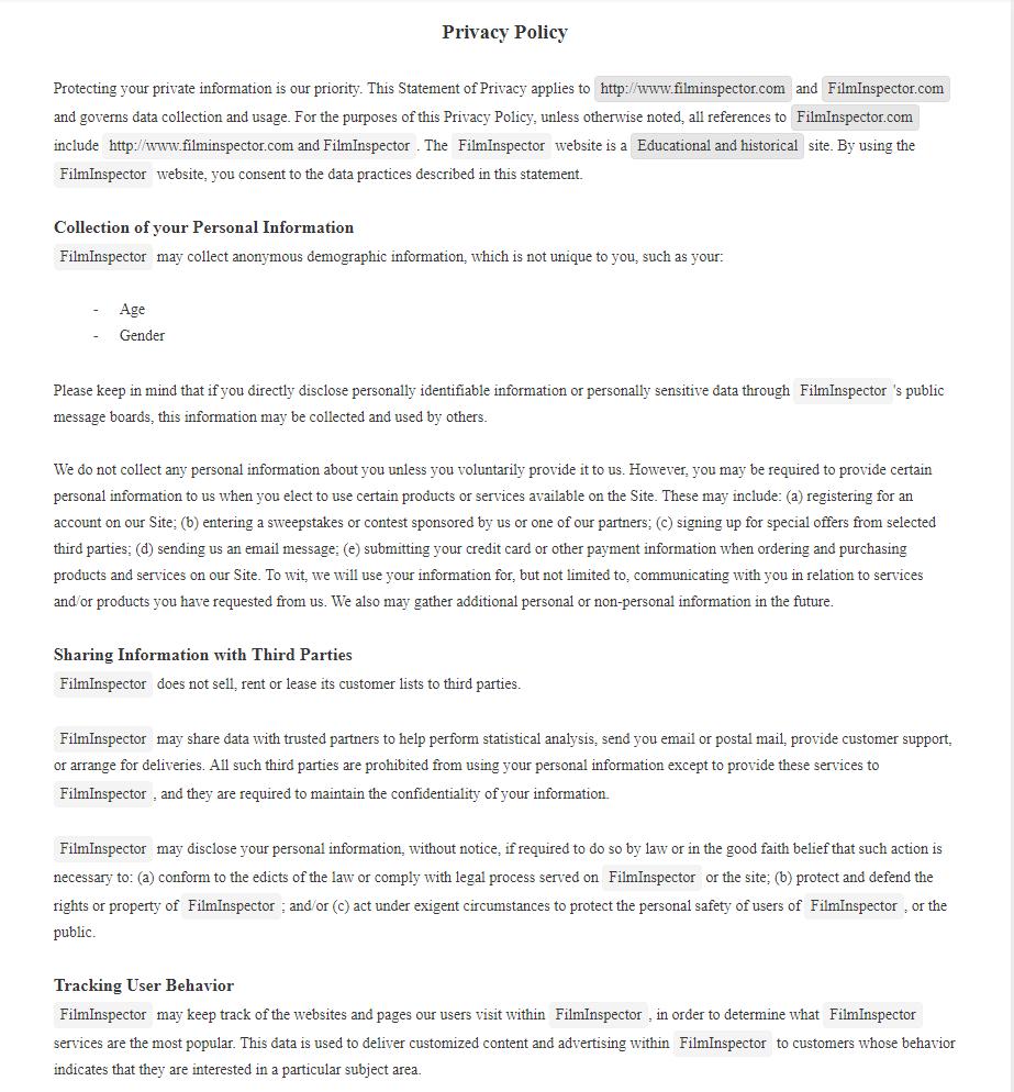 Privacy Policy FilmInspector.com
