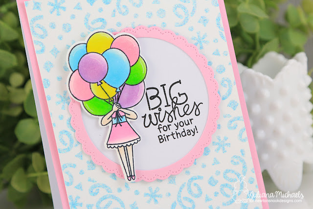 Birthday Card with Glitter Stenciled Background by Juliana Michaels featuring Newton's Nook Designs Holding Happiness Stamp Set and Confetti Stencil