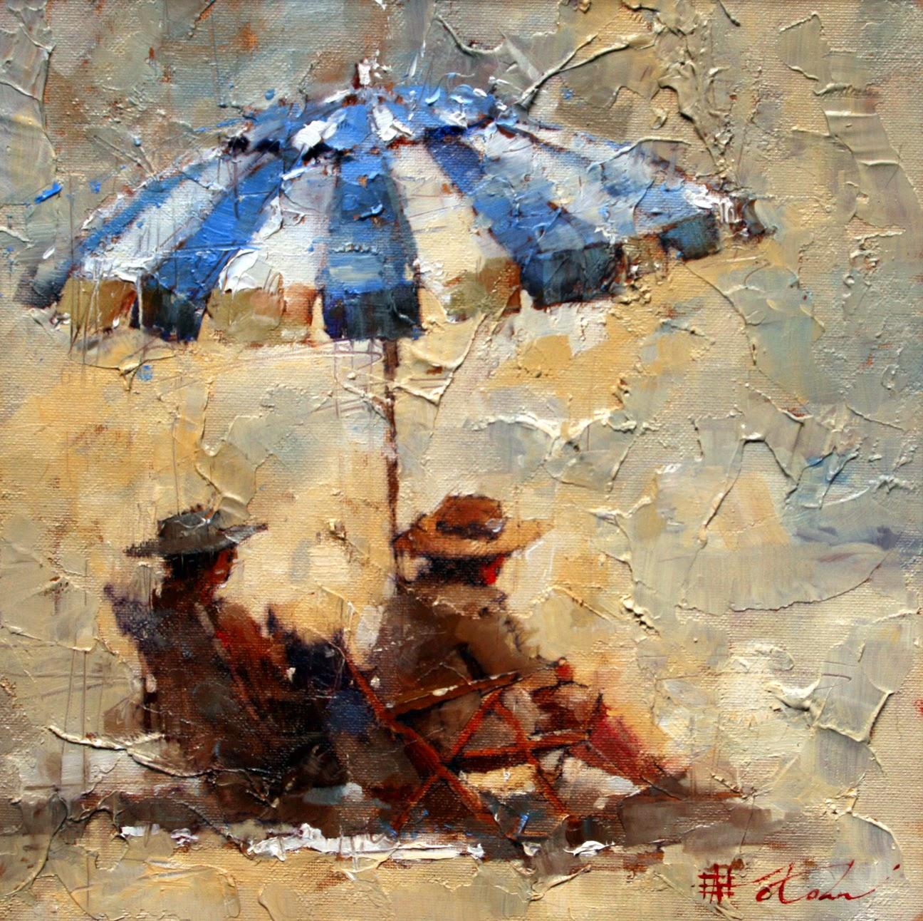 Esperando o Pôr do Sol - Andre Kohn e suas pinturas - Impressionismo Figurativo