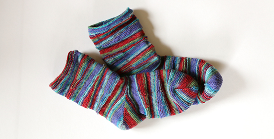 Pair of Completed Striped Knit Socks