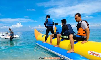 water sport banana boat di gili labak atau pantai sembilan