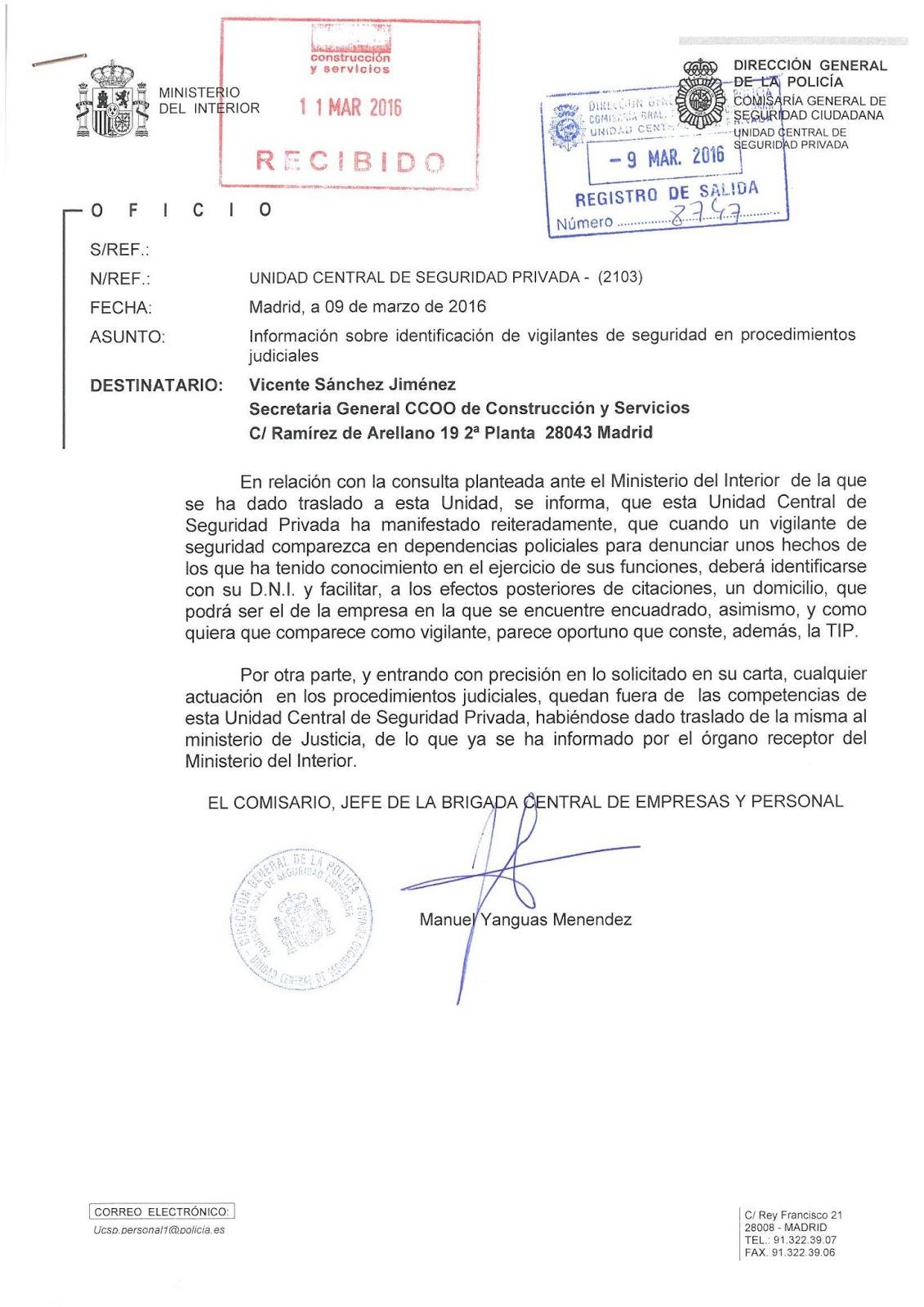 Casesaseccionsindicalccoo consultas al ministerio del for Llamado del ministerio del interior 2016