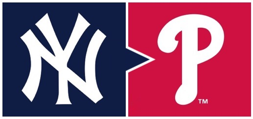 The New York Yankees' stylized NY icon next to Phillies' stylized P icon, with rightward arrow design