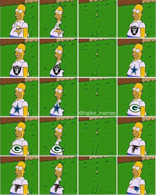 #nfl- #homer hiding in the bushes,  #Vikings to #raiders, Raiders to #cowboys, Cowboys to #packers, packers to #falcons, falcons to #patriots.