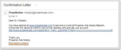 Cara daftar dan pasang iklan Propeller Ads Media ke Blog 3