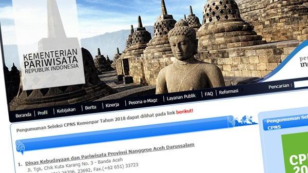 Web Kementerian Pariwisata