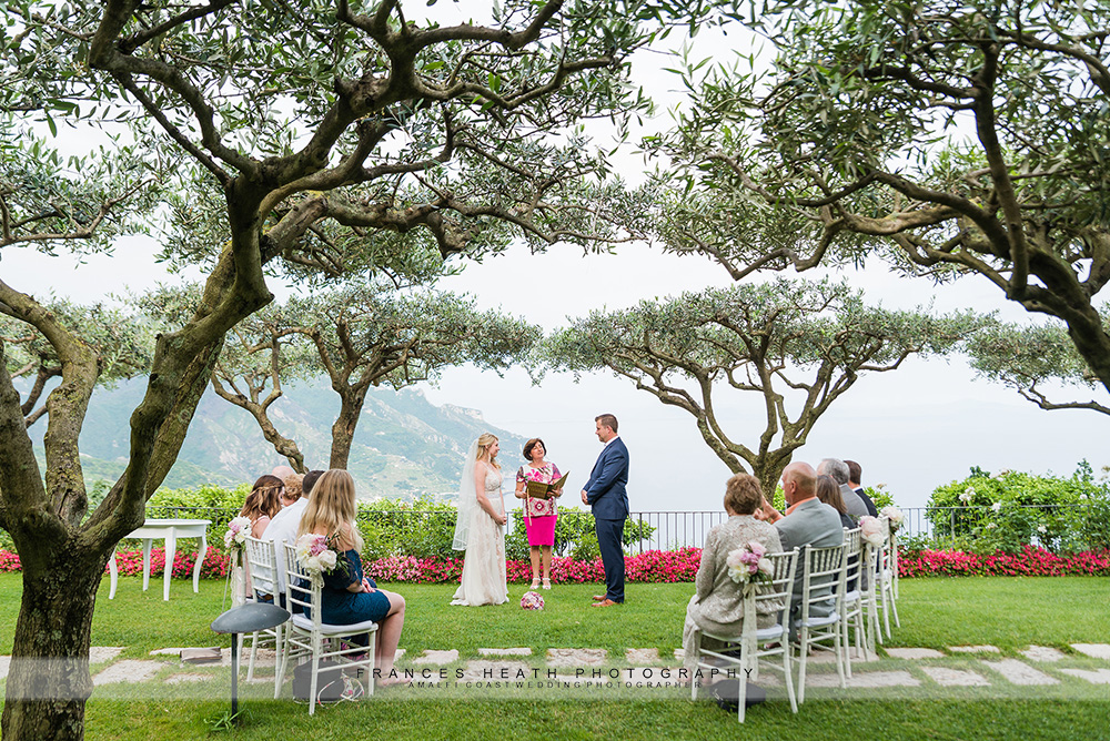 Wedding ceremony under olive trees