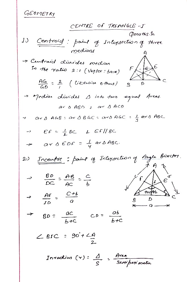 Cebter of triangle ssc cgl