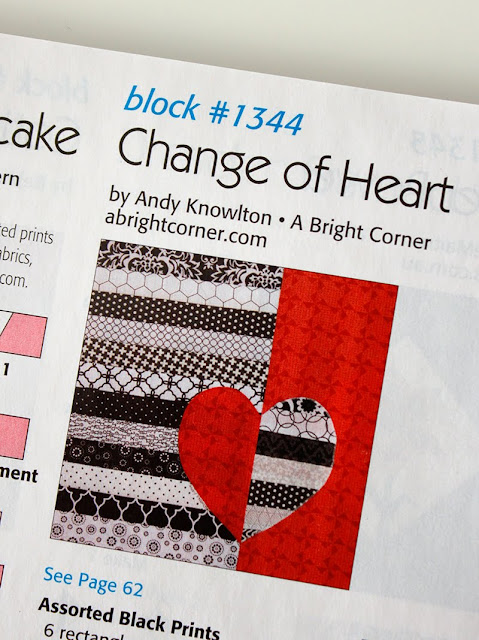 Change of Heart quilt block designed by Andy Knowlton of A Bright Corner