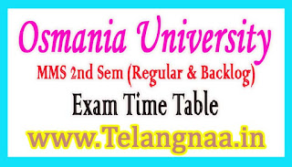 OU MMS II Sem (Regular & Backlog) Exam Time Table 2018
