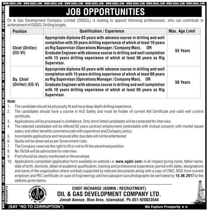Driller Jobs In Oil And Gas Development Company Limited Islamabad 24 May 2017