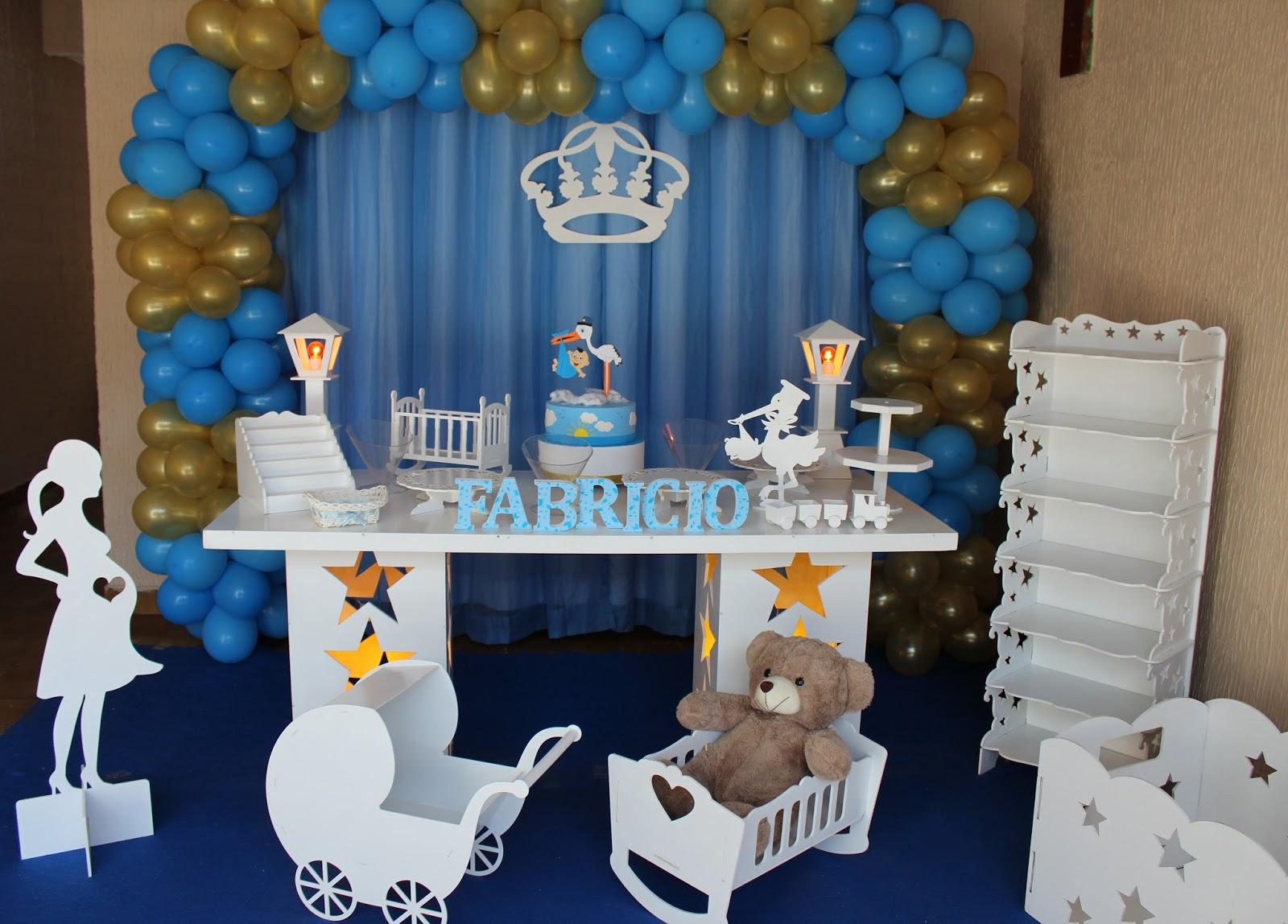 Decoração De Chá De Bebê Azul Com Dourado Virtuosa Festas