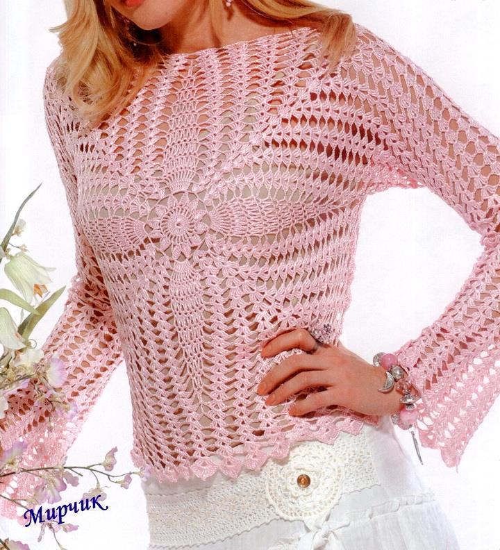 Crochet Sweater, pineapple lace