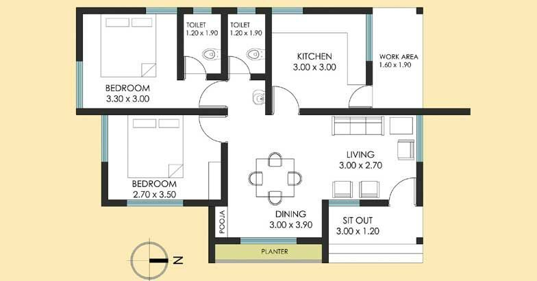 Cost effective 2 bedroom 800 sq ft budget kerala home for for Cost effective house plans