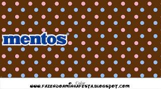 Etiquetas  Mentos de Lunares Celeste y Rosa en Fondo Chocolate para imprimir gratis.