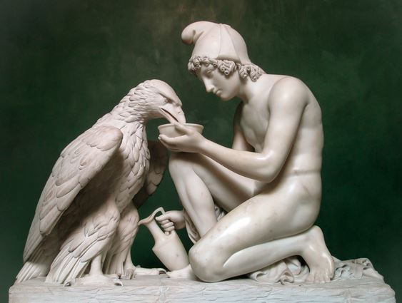ganymede offering wine to zeus in eagle form
