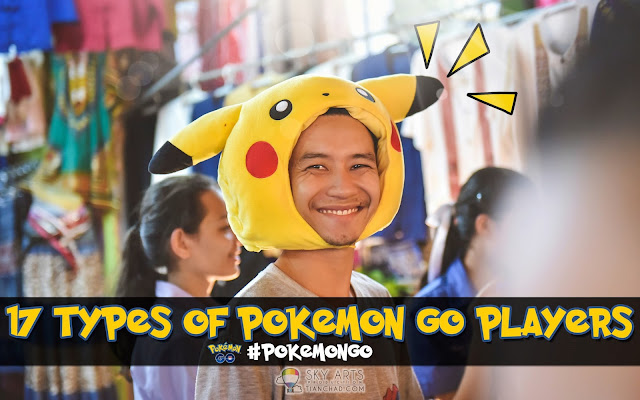 "17 TYPES OF POKEMON GO PLAYERS #POKEMONGO ""A man wearing Pikachu headgear at the night market in Chiang Mai"""