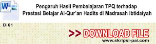Pengaruh Hasil Pembelajaran TPQ terhadap Prestasi Belajar Al-Qur'an Hadits di Madrasah Ibtidaiyah