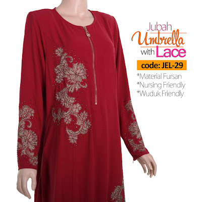 Jubah Umbrella Lace JEL-29 Red Depan 8