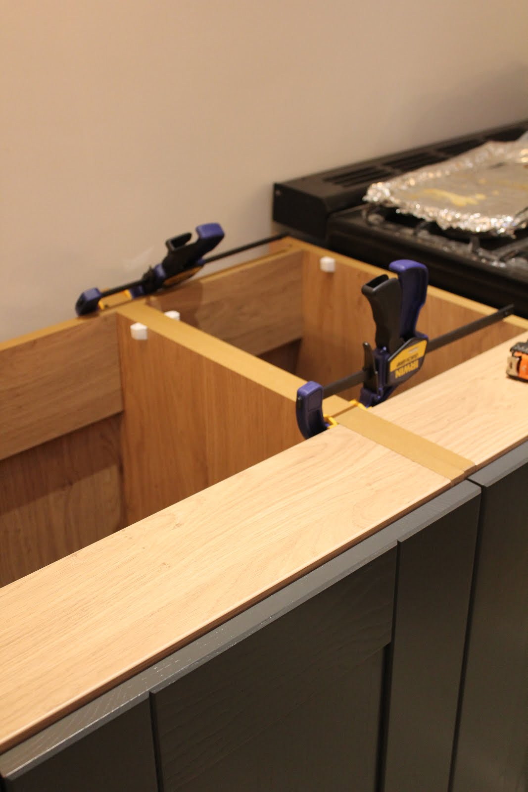 clamps on kitchen units diy