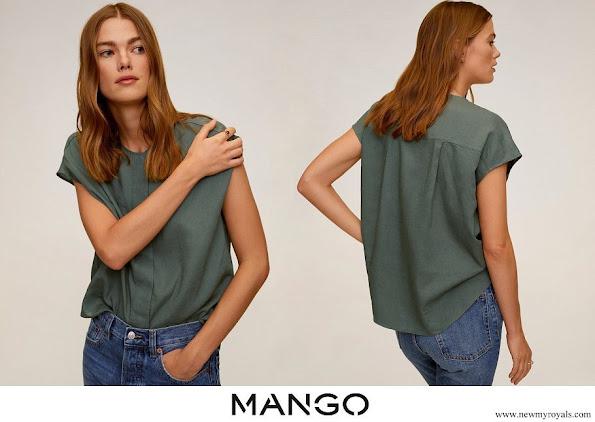Queen Letizia wore a Mango Dolman sleeve blouse