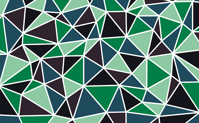 delaunay triangulation pattern with mosaic fill color - shades of blue/green