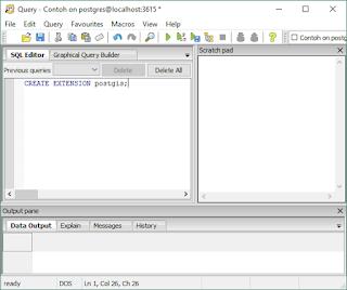 Membuat Extension PostGIS ke Database