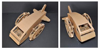 Juguetes hechos con cartón reciclado