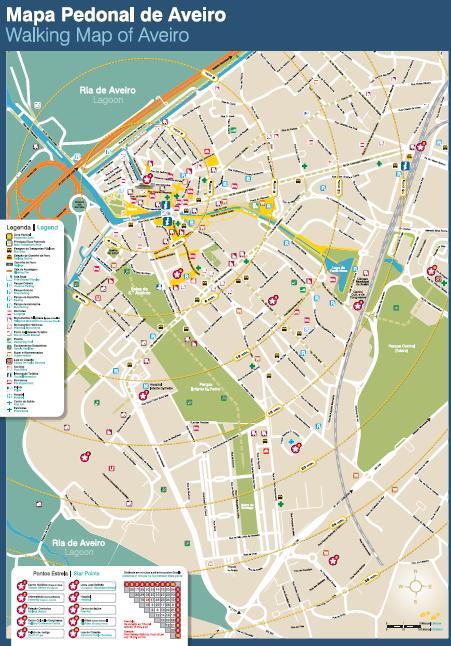 mapa aveiro ruas Quarto vista para a cidade de Aveiro: Mapa Pedonal de Aveiro mapa aveiro ruas