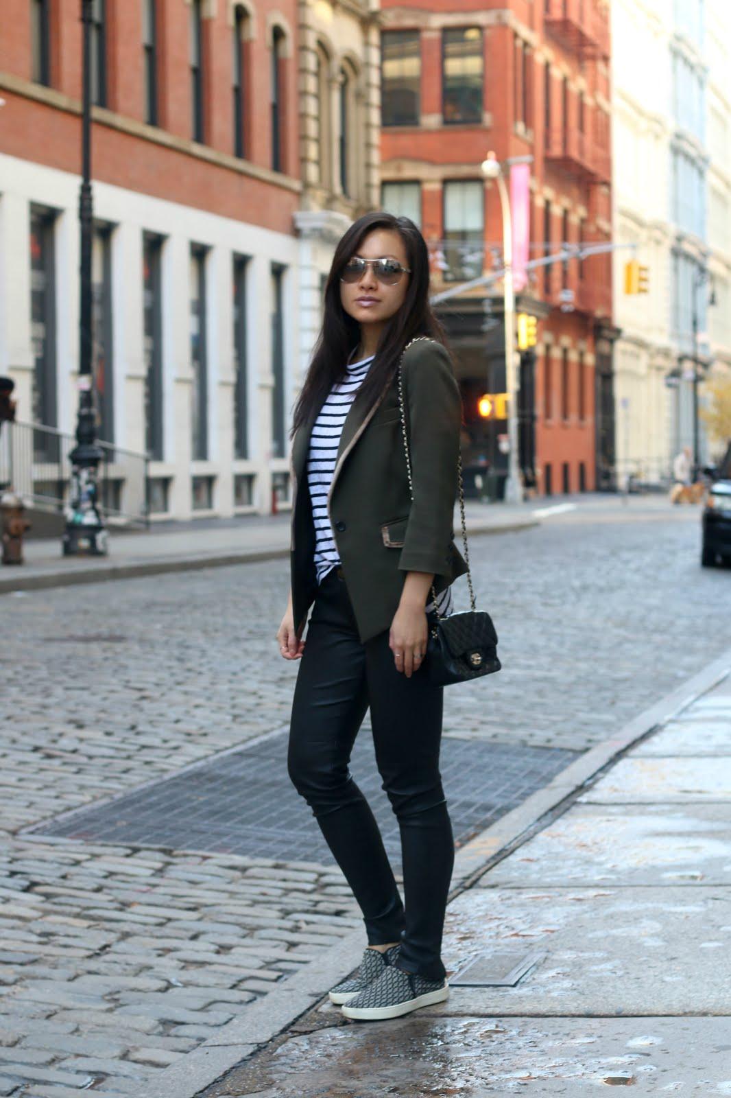 Olive green blazer ALC striped tank J Brand leather pants