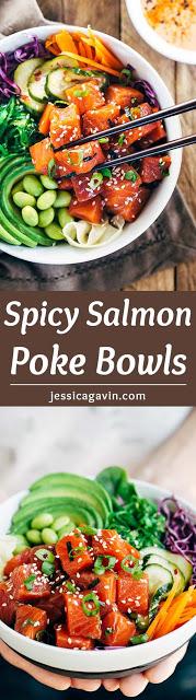 SPICY WILD ALASKAN SOCKEYE SALMON POKE BOWLS