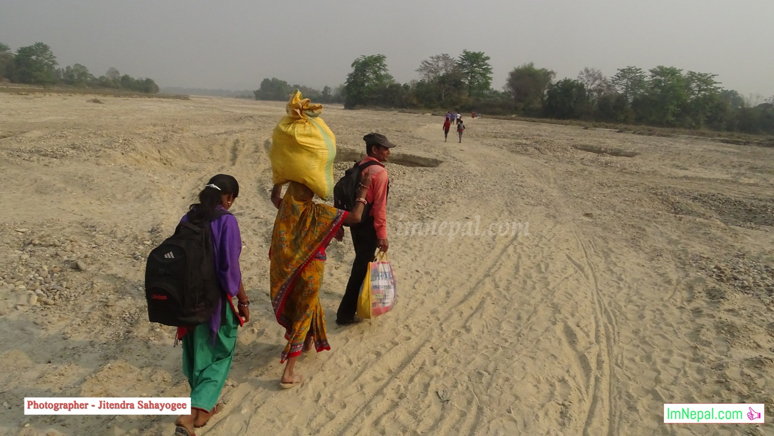 Madheshi Nepali People Walking Pictures Carrying Bags