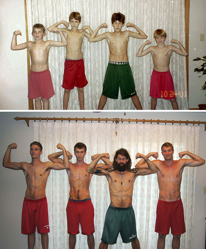 30 Beautiful Recreations Of Childhood Pictures - Four Brothers, Then And Now
